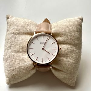 Cluse rose gold leather band women's watch tan